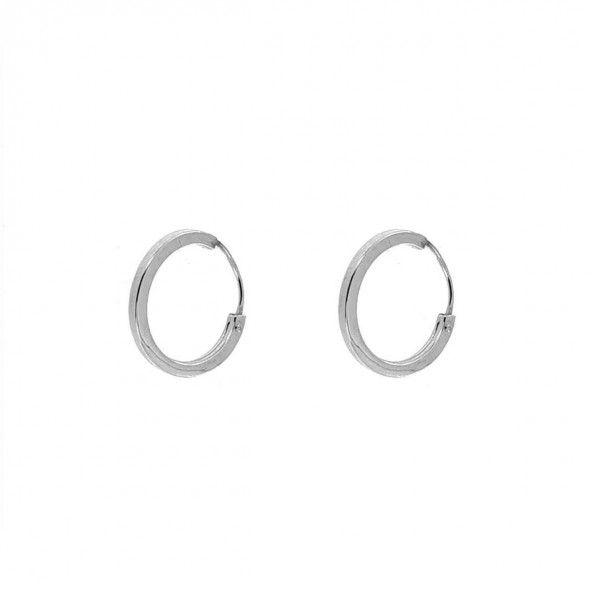 375/1000 White Gold Hoops 1,4 cm