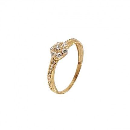 375/1000 Flower Solitaire Gold Ring with Zirconium Stones
