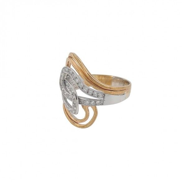 Bicolor Intertwined Loops 375/1000 Gold Ring with Zirconium Stones