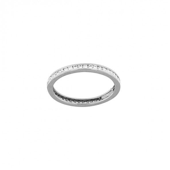 375/1000 White Gold Ring with Zirconium Stones 2mm