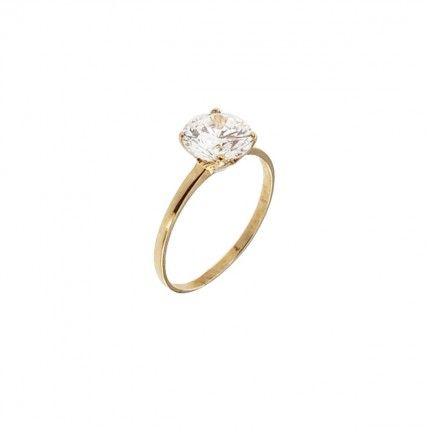 375/1000 Gold Solitaire Ring with Zirconium Stone 8mm