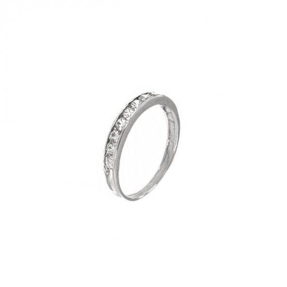 375/1000 White Gold Ring with Zirconium Stones