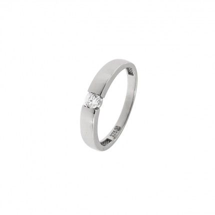 375/1000 Gold Solitaire Ring with Zirconium Stone 3mm