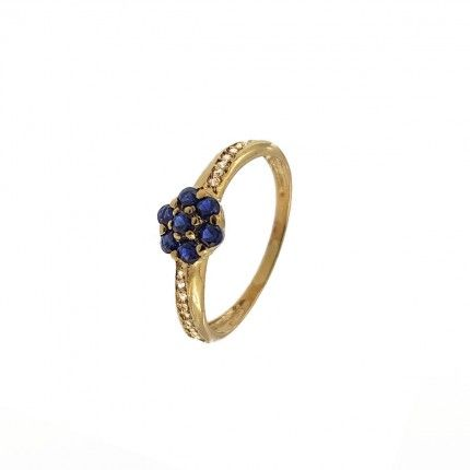 375/1000 Gold Flower Solitaire with Blue and White Zirconium Stones