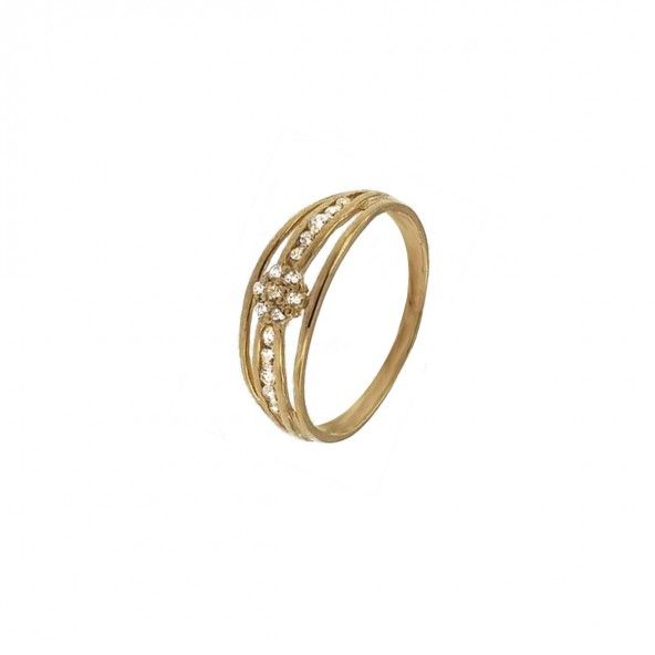 375/1000 Gold Ring with 3 lines Zirconium Stones and Flower