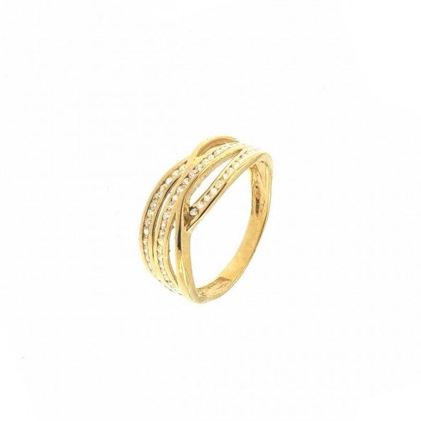 Bicolor 375/1000 Gold Ring with 3 Lines with Zirconium Stones