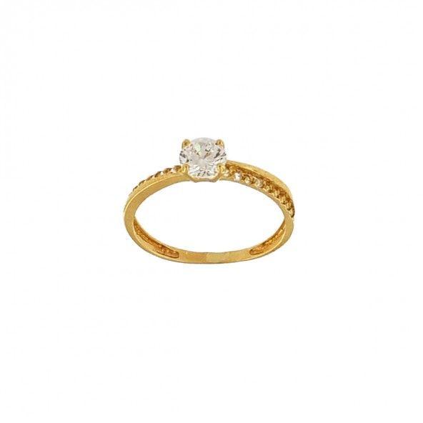 375/1000 Gold Ring with 5mm Zirconium Stone