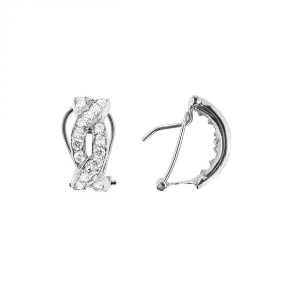 750/1000 White Gold earrings  interlaced with 14mm / 6mm zirconia.