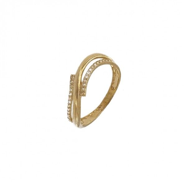 375/1000 Gold Ring with Waves and Zirconium Stones