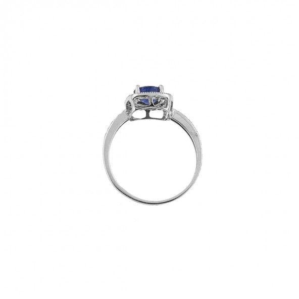 Bague solitaire carrée en or blanc 750/1000 avec zircone bleue et blanche 10mm.