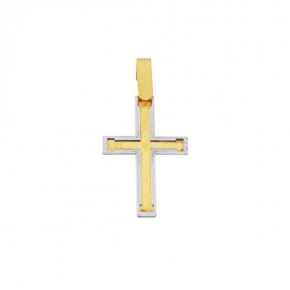 Pendentif en or 750/1000 bicolore croix 20mm