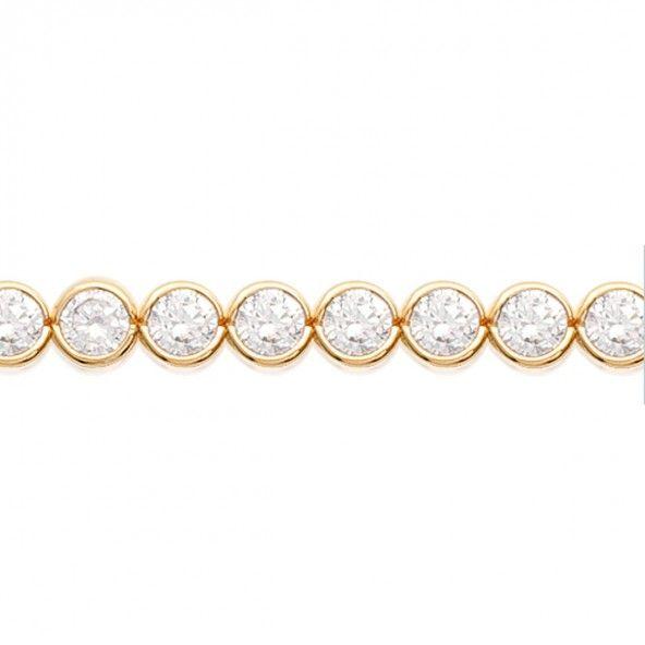Bracelet Riviére plaqué or avec zircons ronds 6mm / 18cm.
