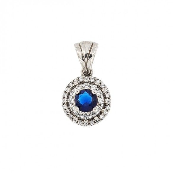 925/1000 Silver Pendant flower shape with white and blue zirconia 11mm.