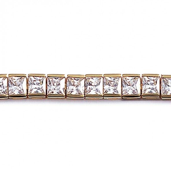 Bracelet Riviére plaqué or avec zircons carrée 6mm / 18cm.