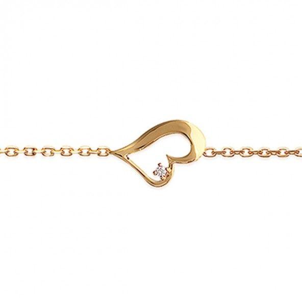 Pulseira Plaqueado a Ouro coração e pedra zircónia 10mm, e 16cm-18cm de comprimento.