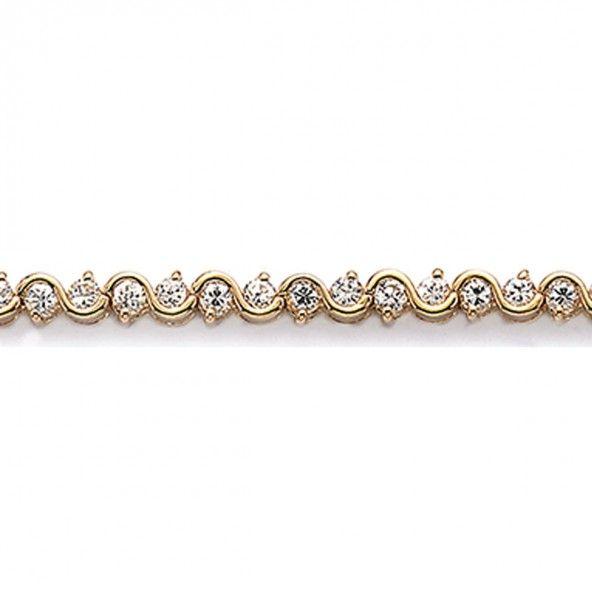 Gold Plated Riviera bracelet with round Zirconia 4mm/18cm.