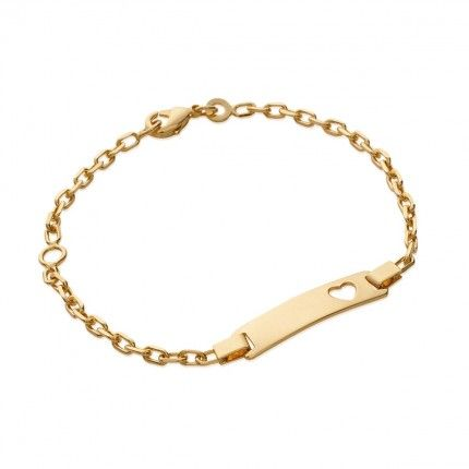 Gold Plated Bracelet with plate Heart cut, 6mm-23mm / 14cm-16cm.