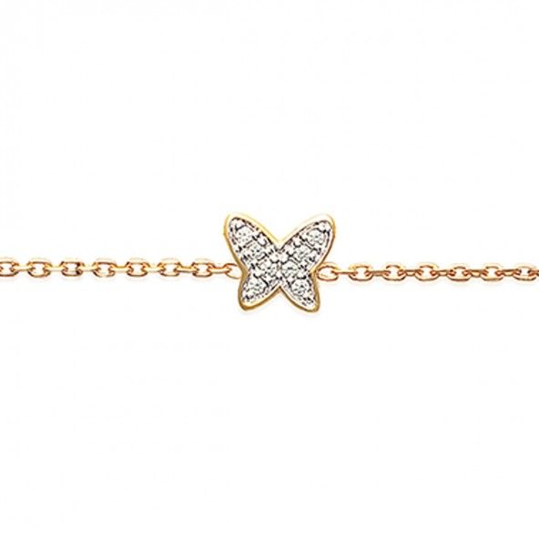 Gold Plated Bracelet Butterfly with zirconia 10mm/16cm-18cm.