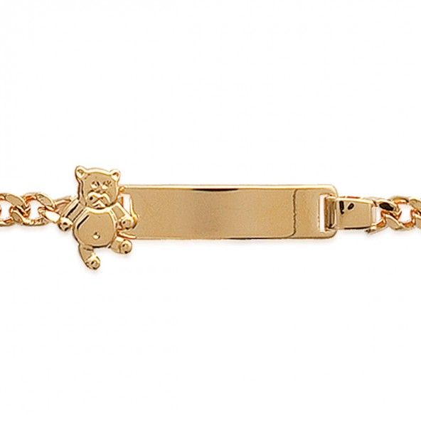 Gold Plated Bracelet with Plate and Bear, 6mm-23mm / 14cm-16cm.