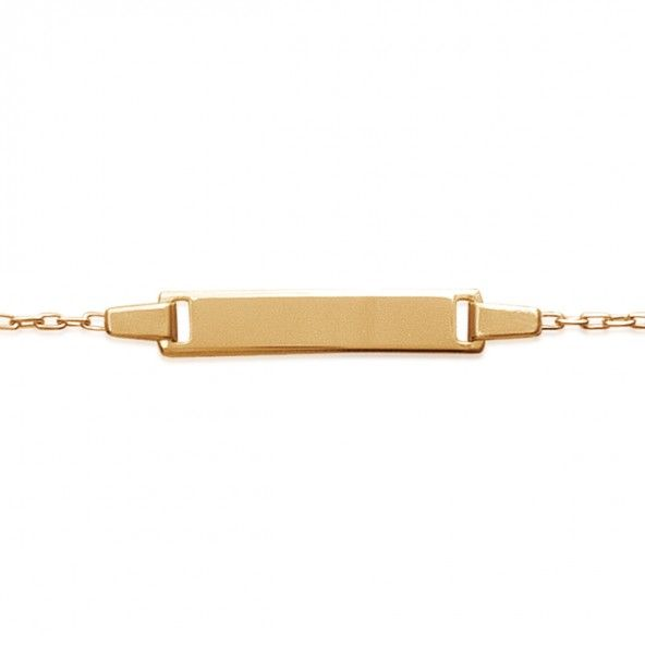 Gold Plated Bracelet with Plate, 4mm-19mm / 14cm-16cm.