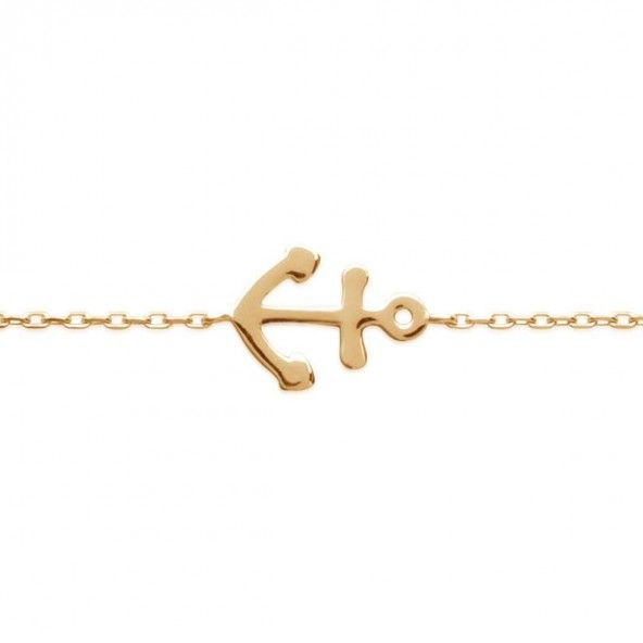 Gold Plated Bracelet with Anchor, 12mm-10mm / 16cm-18cm.