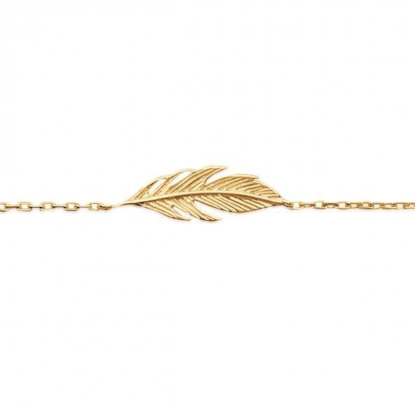 Bracelet avec Plume Plaqué Or, 20mm-7mm / 16cm-18cm.