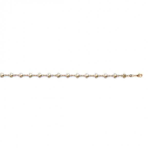 Gold Plated Bracelet with Hearts 6mm, 18cm.