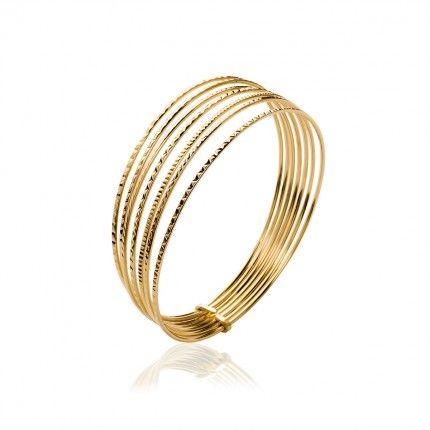 Gold Plated 7 Slaves Bracelet 11mm, 66mm.