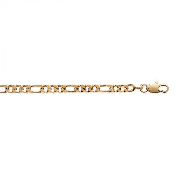 Bracelet Maille 1+1 Plaqué Or 4mm, 21cm.