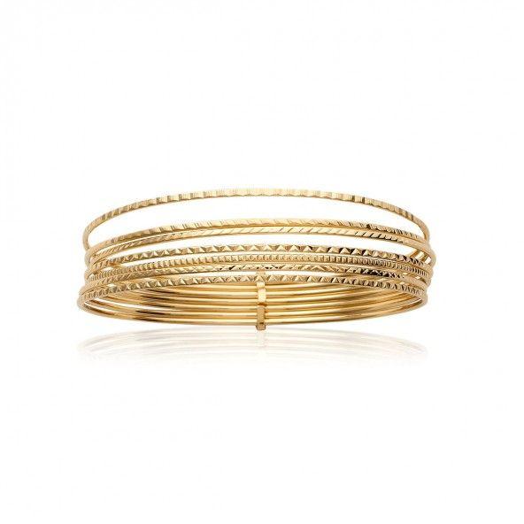 Bracelet Rigide Plaqué Or 11mm, 66mm.