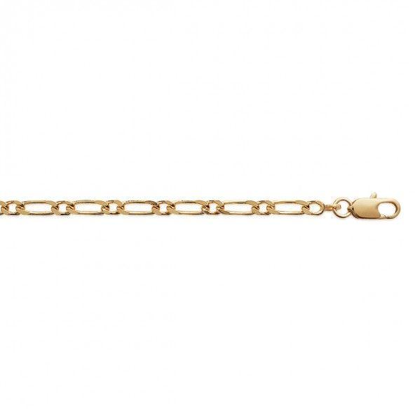 Bracelet Maille 1+1 Plaqué Or 3mm, 21cm.