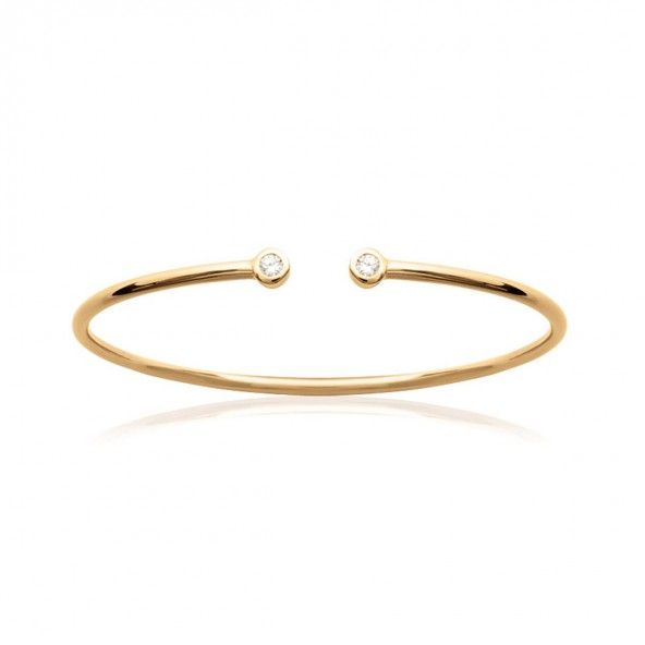 Gold Plated Rigid Bracelet with Opening and Zirconia 4mm, 56mm.