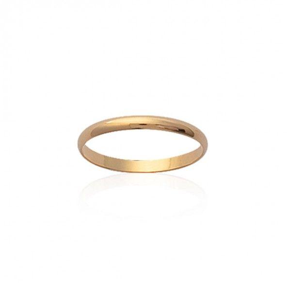 Aliança Plaqueado a Ouro lisa com 3mm arredondada.