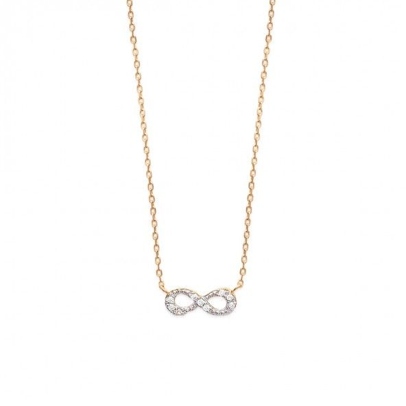 Gold Plated Chain 40cm/42cm/45cm Inifity with Zirconia 15mm.