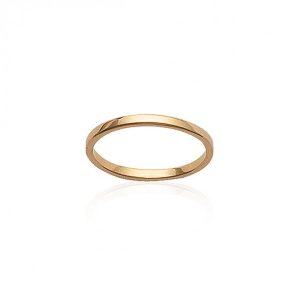 Gold Plated Flat Wedding Ring 2mm.