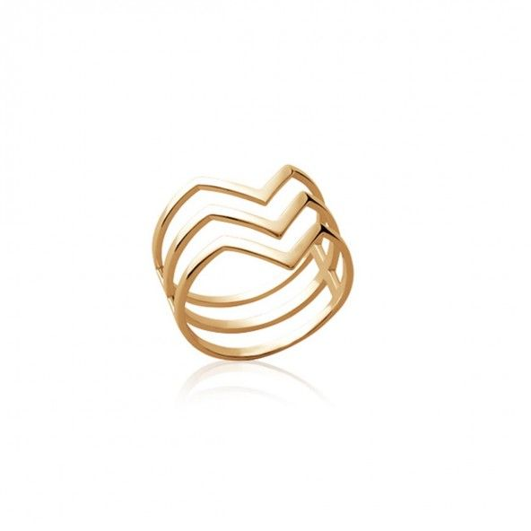 Gold Plated Ring Triple V 17mm.