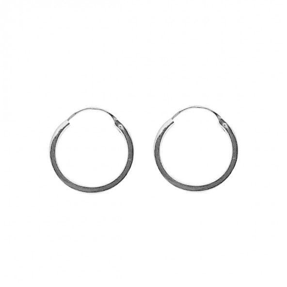 375/1000 White Gold Hoops 2mm/16mm.