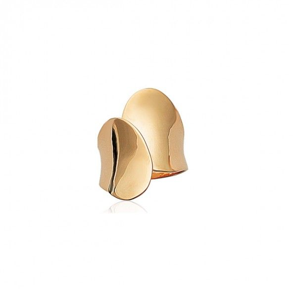 Gold plated Ring Interlaced 23mm.
