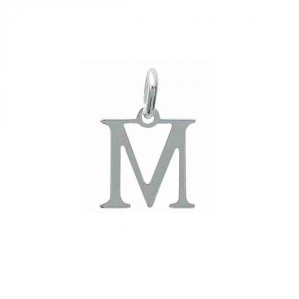 Pendentif lettre M initiale prénom en Argent 925/1000