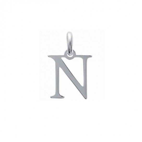 Pendant letter N initial name in Silver 925/1000