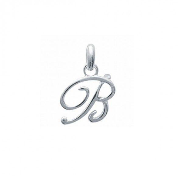 Pendant cursive letter B initial name in Silver 925/1000
