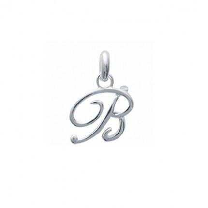 Pendente letra B inicial fantasia cursiva nome em Prata 925/1000