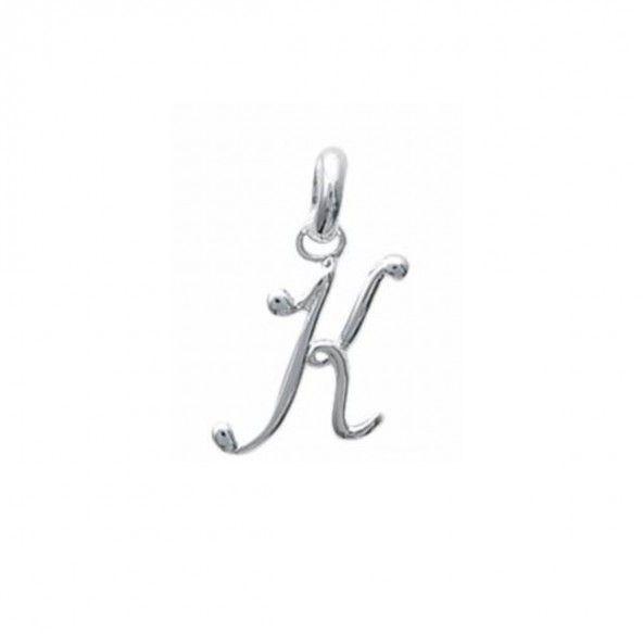 Pendente letra K inicial fantasia cursiva nome em Prata 925/1000