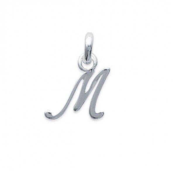 Pendentif lettre M initiale cursive fantaisie prénom en Argent 925/1000