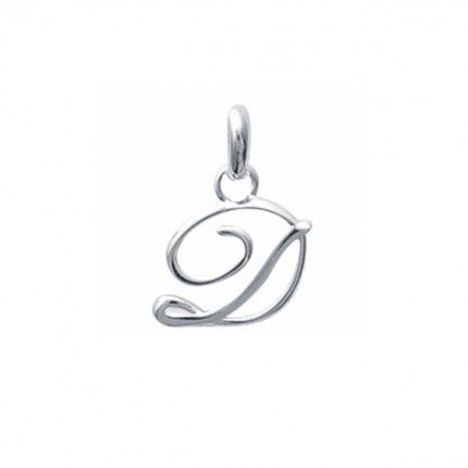 Pendente letra D inicial fantasia cursiva nome em Prata 925/1000