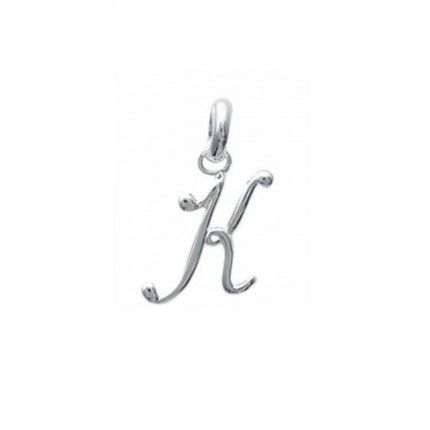 Pendentif lettre K initiale cursive fantaisie prénom en Argent 925/1000