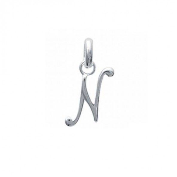 Pendant cursive letter N initial name in Silver 925/1000