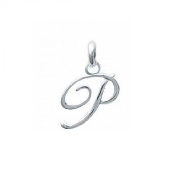 Pendente letra P inicial fantasia cursiva nome em Prata 925/1000