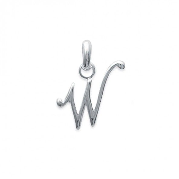 Pendant cursive letter W initial name in Silver 925/1000
