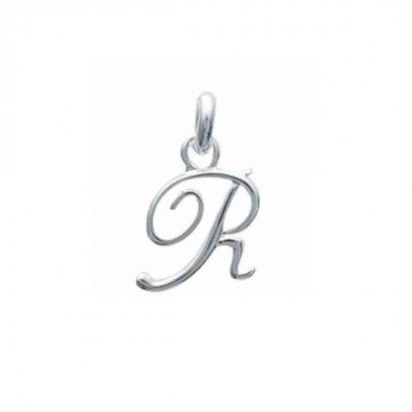 Pendentif lettre R initiale cursive fantaisie prénom en Argent 925/1000